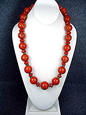 Sterling Silver Apple Coral Bead Necklace Paige Wallace