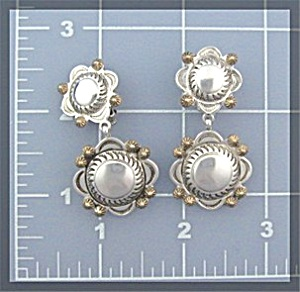 Earrings Sterling Silver Clip Conchos  KEE NATAANI (Image1)