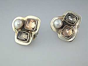 Earrings Sterling Silver Pearl Quartz AMY KHAN RUSSELL (Image1)