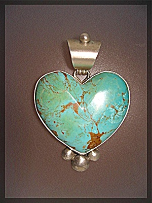 David Troutman & Gundi Turquoise Heart Sterling Silver  (Image1)