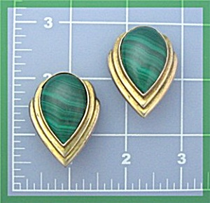 EarringSterling Silver Gold Vermeil DND Malachite Clip  (Image1)