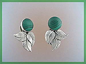 Sterling Silver Malachite Clip Earrings N Juan