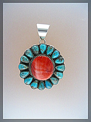 Sterling Silver Red Spiny Oyster Turquoise Ray Yazzie P
