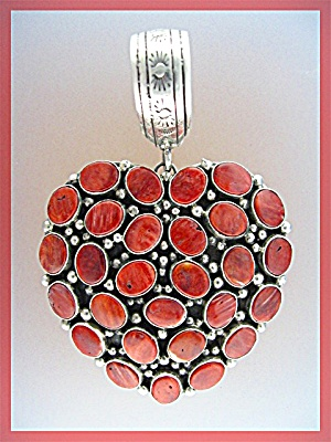 Sterling Silver Red Spiny Oyster Heart Pendant Ted Joe