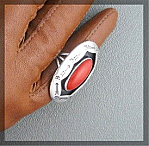 Sterling Silver Hand Made Coral Ring