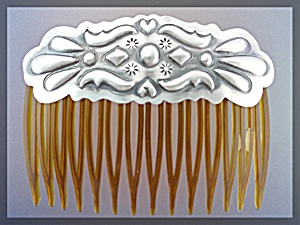 Native American Hair Comb Sterling Silver Hearts  (Image1)