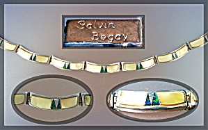 CALVIN BEGAY Opal Mother Pearl Sterling Silver Bracelet (Image1)