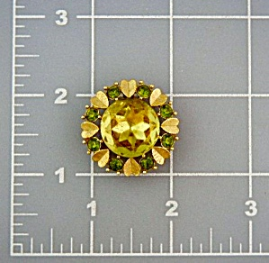 Avon Costume Citrine Peridot Color Gold Brooch