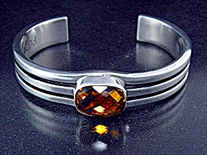 Native American Citrine Sterling Silver Cuff Signed Pg