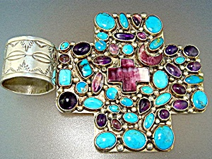 Native American Sterling Silver Jewelled Cross Kee Cook