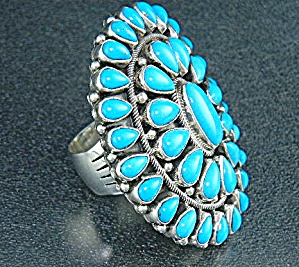 Navajo Sleeping Beauty Turquoise Sterling Silver Ring