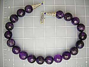 Amethyst GenuinFaceted 19 Inch Sterling Silver Necklace (Image1)