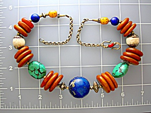 Amber Lapis Shell Turquoise Sterling Silver Necklace (Image1)