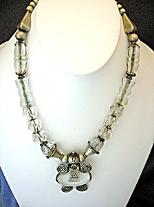 Sterling Silver Antique Carved Crystal Necklace India (Image1)