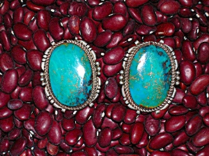Sterling Silver And Turquoise Clip Earrings Signed Gz