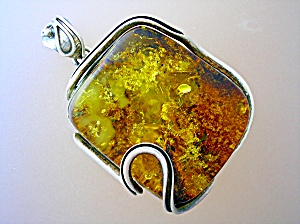Pendant Sterling Silver Russian Golden AMBER (Image1)