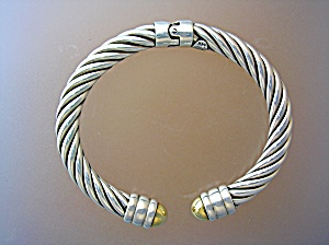 Bracelet 14k Sterling Silver Hinged Italy