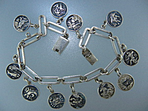 Taxco Mexico Sterling Silver Astrological Charm Bracele