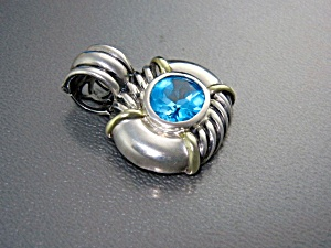 14k David Yurman Sterling Silver Blue Topaz Pendant