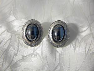 Vintage Hematite Sphinx Clip Earrings