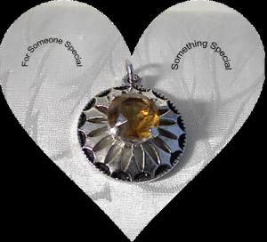 Silvertone Pendant With Citrine Faceted Stone (Image1)