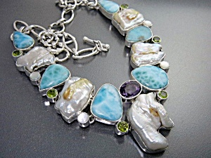 Larimar Amethyst Peridot Pearl Sterling Silver Necklace (Image1)
