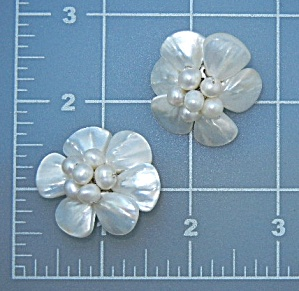 Freshwater Pearls Mother Of Pearl Clip Earrings