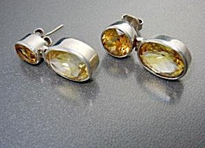 Citrine Sterling Silver Hinged Pierced Earrings (Image1)