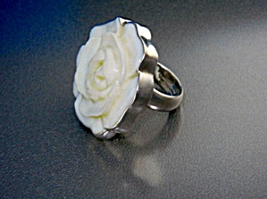Charles Albert Sterling Silver Carved Coral Ring (Image1)