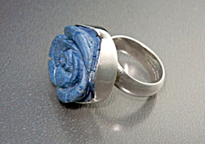 Charles Albert Blue Carved Coral Sterling Silver Ring (Image1)
