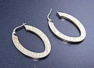Earrings 14K Signed Gold Hoop Earrings Pierced (Image1)