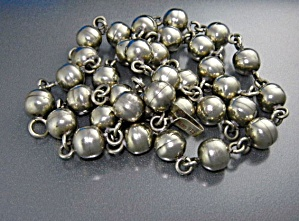 Sterling Silver Hand Made Silver Balls Chain Link Neckl