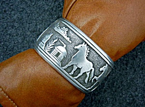 Native American Sterling Silver Horses Bracelet Tommy S