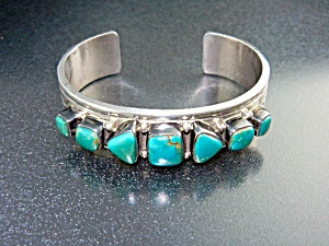 Native American Sterling Silver Turquoise R. Bennett
