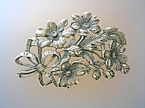 Sterling Silver Flower Spray Brooch Pin CINI (Image1)