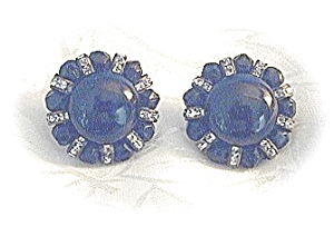 Black Faceted Crystal & Rhinestone Clip Earrings (Image1)