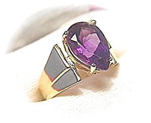 Ring 10K Deep Amethyst Pear Shaped 2 1/2 ct (Image1