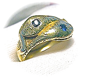 18K Gold Sapphire Eyes Serpent  Snake Ring (Image1)