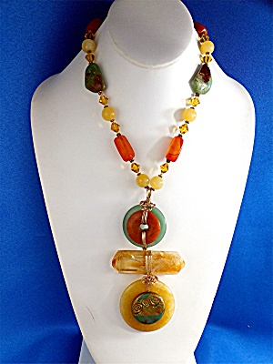 Necklace Citrine Adventurine Crystal gold Wrap Hand Mad (Image1)