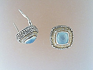 Earrings 18K Gold Sterling Silver Diamond Aquamarine JK (Image1)