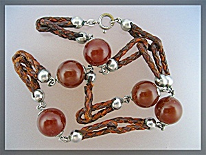 Necklace Carnelian linked Leather and Silver ........ (Image1)