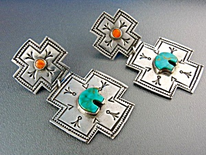 Native American Sterling Silver Turquoise Cross Earring