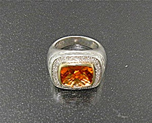 Ring 14K Gold Diamonds Citrine Sterling Silver Signed A (Image1)