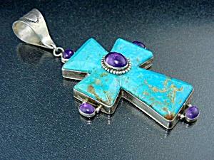 David Troutman Kingman Turquoise Amethyst Cross Pendant (Image1)