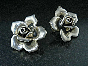 Sterling Silver Roses BATT ART Clip Earrings (Image1)