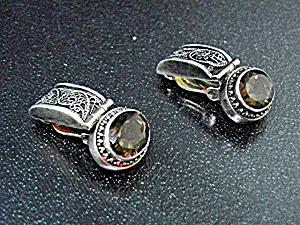 Lori Bonn Sterling Silver Smoky Topaz Clip Earrings (Image1)