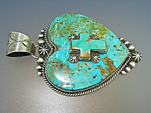 Navajo Kingman Turquoise Sterling Silver Heart Cross Pe