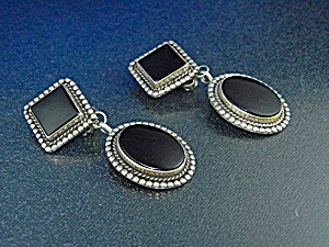 Sterling Silver Onyx Clip Earrings 2 1/4 Inches (Image1)