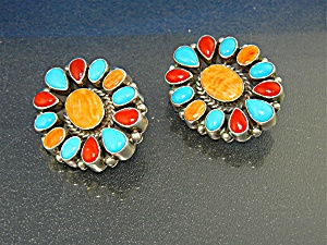 Navajo Coral Turquoise Spiny Oyster Sterling Silver Ear