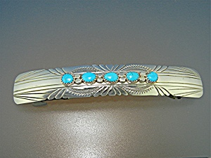 Navajo Sterling Silver Turquoise Hair Barrette 4 Inches